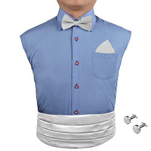 White Cummerbund Set (CM1002 Fitted Design White Solids Silk Mens Cumberbunds Hanky Cufflinks Bow Tie Set Economics Presents By Epoint)