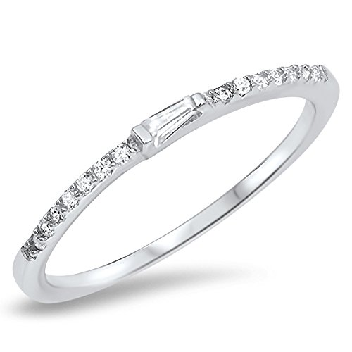 Thin White CZ Wedding Ring New .925 Sterling Silver Stackable Band Size 7 (RNG16618-7)