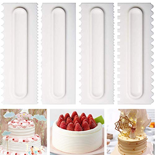 Comb Pastry - Cake Scraper Cake Decorating Comb Icing Smoother Fondant Spatulas Cake Edge Smoother Cream Scraper Cake Tools Pastry Cutter 8 Design Textures Baking Tools Kitchen Baking Mold DIY Tool Pack of 4