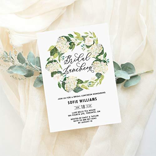 Hydrangea Bridal Shower Invitations - Dozili Floral Bridal Luncheon Invitation Watercolor White Hydrangeas Wreath Bridal Luncheon Invitation Editable