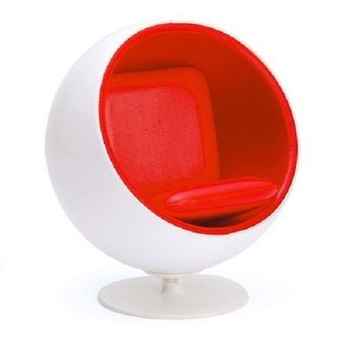 Mid Century Modern Miniature White Red Ball Chair, Eero Aarnio Designer Chair, 1:12 Scale (NOTE: 4.3' Tall)
