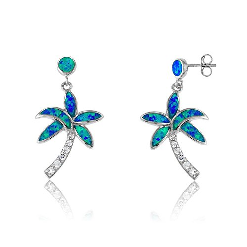 Sterling Silver Created Blue Opal & CZ Palm Tree ()
