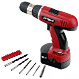 Hi-Spec 18V Electric Power Cordless Drill Driver, 800mAh Ni-MH Battery, 16 Position Keyless Chuck, Variable Speed with 18 Piece Screwdriver Insert & Wood Drill Bits Set for Home & Work Repairs & DIY