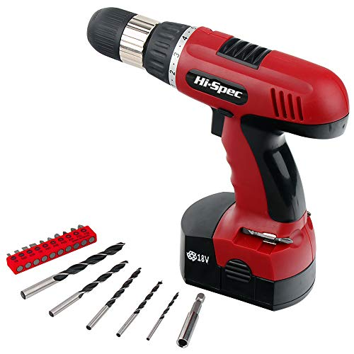 Hi-Spec 18V Electric Power Cordless Drill Driver, 800mAh Ni-MH Battery, 16 Position Keyless Chuck, Variable Speed with 18 Piece Screwdriver Insert & Wood Drill Bits Set for Home & Work Repairs & DIY by Hi-Spec