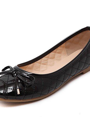 PDX/ Damenschuhe - Ballerinas - Kleid / Lässig - Kunstleder - Flacher Absatz - Komfort / Rundeschuh / Geschlossene Zehe -Schwarz / Rot / black-us7.5 / eu38 / uk5.5 / cn38