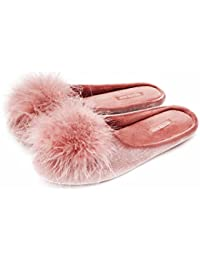 Women's Cozy Velvet Memory Foam House Slipper,Ladies Fuzzy Bedroom Slipper Non-Slip Sole