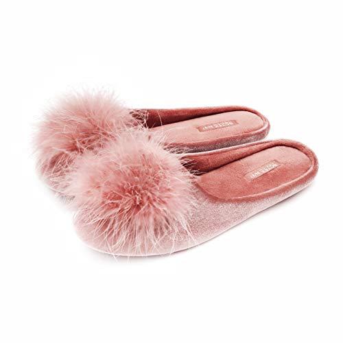BCTEX COLL Women's Cozy Velvet Memory Foam House Slipper,Ladies Fuzzy Bedroom Slipper Non-slip Sole Pink 7-8