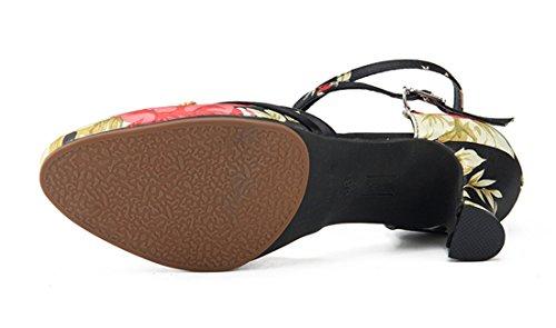 Pumps Shoes Prom Toe Rumba Salsa Floral Modern Black Satin Wedding Formal Ballroom Tango Party Heel Closed Sole Joymod MGM 7cm Samba Dance Latin Buckle Women's Rubber nFq7BxYTw