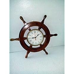 18 Solid Wood Brass Ship Wheel Wall Clock Porthole Nautical Decor Shipwheel 18 Ship Wheel Clock: Boat DecorationWooden Nautical Shipwheel with Clock - Maritime Pirate Decor