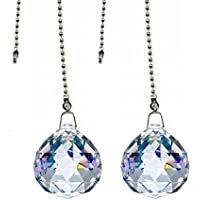 DLD Magnificent crystal 40mm Clear Crystal Ball Prism 2 Pieces Dazzling Crystal Ceiling FAN Pull Chain