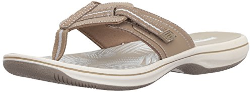 CLARKS Women's Brinkley Jazz Flip-Flop, Sand Synthetic, 8 Medium US