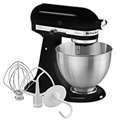 The KitchenAid Classic Series Tilt-Head Stand Mixer includes a 4.5-quart stainless steel mixing bowl and 10 speeds to easily mix, knead and whip your favorite ingredients. For even more versatility, the power hub is designed to use the motor'...