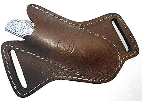 "Ottoza Handmade Leather Knife Sheath Cross Draw Knife Sheath 5"" Folding Pocket Knife Sheath - Leather Folding Knife Sheath for 5 inch Folding Knives/Pocket Knives Dark Brown TOP Grain Leather No:71"