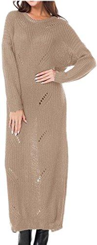 Generic Womens Long Sleeve Crewneck Openwork Long Knit Sweater Top 2 S by GenericWomen