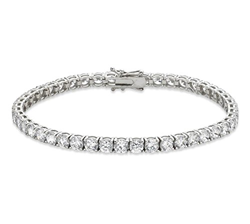 Venetia Top Grade Realistic Hearts and Arrows Cut 10 Carats 4mm Simulated Diamond Tennis Bracelet 925 Silver Platinum Plated cubic zirconia cz (925 Silver High Platinum Bracelet)