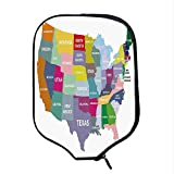 YOLIYANA Map Durable Racket Cover,USA Map with Name of States in America Geography Cartography Theme for Sandbeach,One Size
