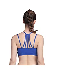 AIYIHAN Women's Sexy Strappy Wirefree Yoga Sports Bra Support Padded Running Bra