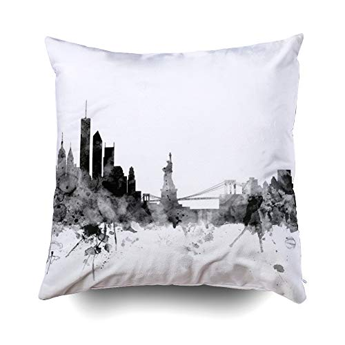 EMMTEEY Home Decor Throw Pillowcase for Sofa Cushion Cover, Halloween New York Skyline Decorative Square Accent Zippered and Double Sided Printing Pillow Case Covers 16X16Inch