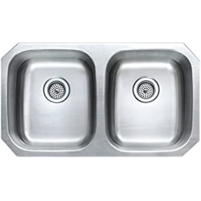 Winpro 32 1/4' x 18 1/2' x 9' Undermount Extra Deep Double Bowl 18 Gauge 304 Stainless Steel Kitchen Sink