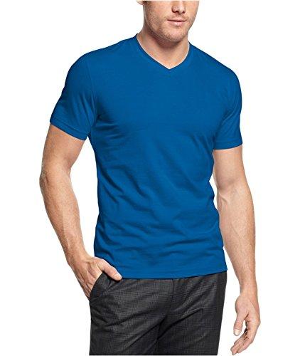 Alfani Men's Short V-Neck Slim Fit Stretch T-Shirt (Vibrant Blue, Medium) from Alfani
