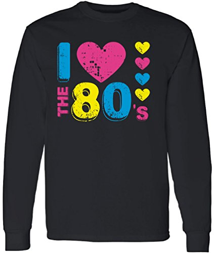 90s Party Costume Ideas Male (Vizor Men's I Love The 80's Long Sleeve Shirt Tops 80s Party 80s Costume 80s Disco Black XL)
