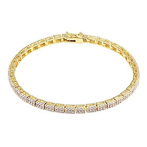 Ladies Tennis Link Bracelet 14K Yellow Gold Finish 2 Row Simulated Diamonds Box Clasp ()