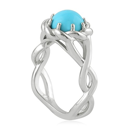 Mettlle Natural Round Turquoise Sterling Silver Rope Edge Solitaire Ring