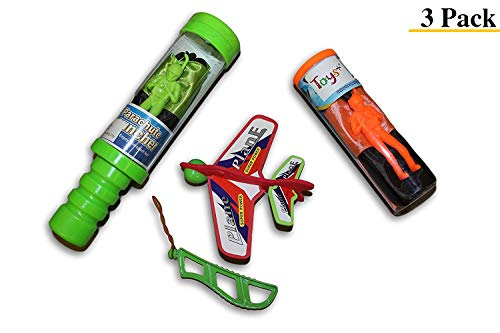 Toys+ Flying 3 Piece Set Skydiver Parachute Men Tangle Free and Sky Plane with Launcher (Colors and Styles May Vary) For Kids and Children
