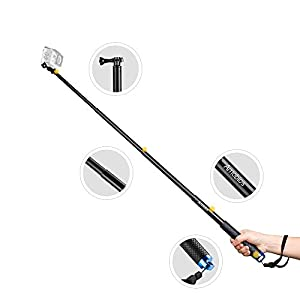 Amobios 12-37 Inches Waterproof Telescoping Extendable Selfie Stick Rust-Preventing and Anti-reflective Pole for GoPro Cameras