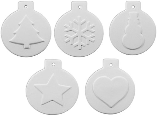 White Ceramic Unglazed (Christmas Ball Ornament Collection Number 2 - Set of 5 - Host Your Own Ceramic Painting Party)