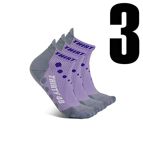 Thirty 48 Compression Low-Cut Running Socks for Men and Women (Small - Women 5-6.5 // Men 6-7.5, [3 Pairs] Purple/Gray) by Thirty 48 (Image #1)