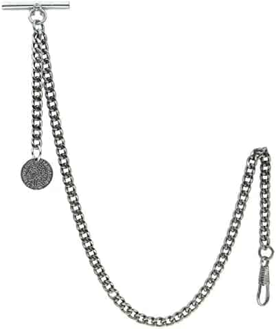 Albert Chain Pocket Watch Curb Link Chain Antique Silver Color Francaise Medal Fob T Bar AC47