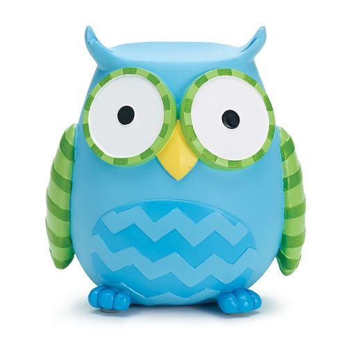 UPC 098111038821, Whooo's Hootie Cutie Owl Shaped Baby Piggy Money Coin Bank (Blue & Green)