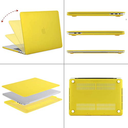 MOSISO MacBook Pro 15 inch Case 2019 2018 2017 2016 Release A1990 A1707, Plastic Hard Shell Case&Keyboard Cover&Screen Protector&Storage Bag Compatible with MacBook Pro 15 Touch Bar, Yellow