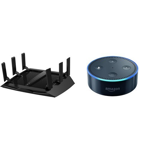 Price comparison product image NETGEAR Nighthawk X6 AC3200 Tri-Band Gigabit WiFi Router (R8000) Bundle with All-New Echo Dot (2nd Generation) - Black