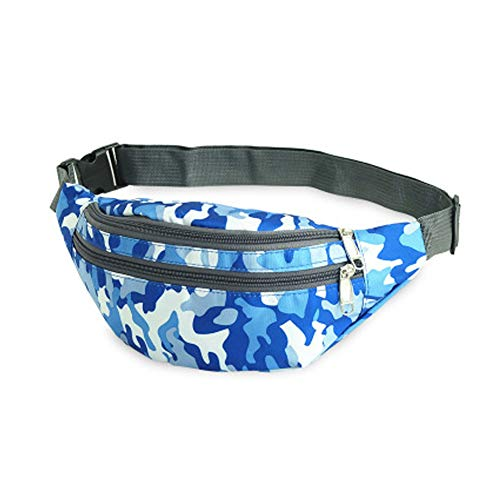 Waist Pack Bag for Men&Women - Waterproof Fanny Pack with Adjustable Strap for Workout Traveling Casual Running.(Camo Blue)