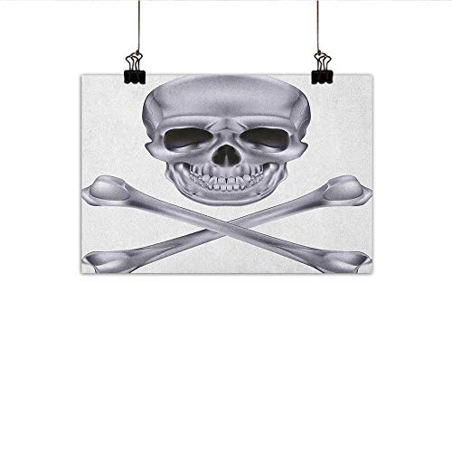 (Grey Chinese Classical Oil Painting Vivid Skull and Crossed Bones Dangerous Scary Dead Skeleton Evil Face Halloween Theme for Living Room Bedroom Hallway Office 35