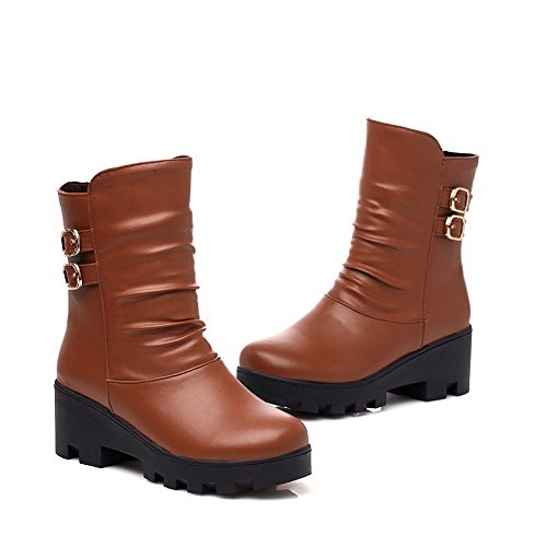 AgooLar Women's Round Closed Toe Kitten Heels Soft Material Solid Pull On Boots Brown UmLzDAym
