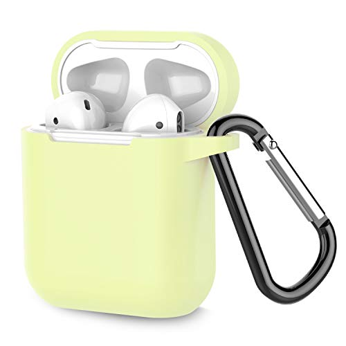 Airpods Case, Coffea AirPods Accessories Shockproof Case Cover Portable & Protective Silicone Skin Cover Case for Airpods 2 & 1 (Front LED Not Visible) - Fluorescence