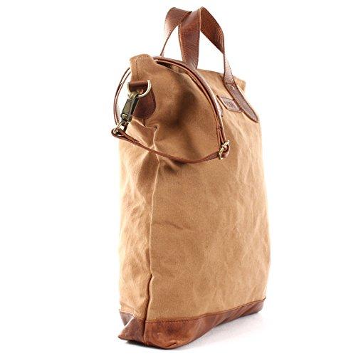 C leather shopper LE0037 handle tote LECONI vintage look cognac 39x45x10cm women canvas bag handbag OTqF5dFwx