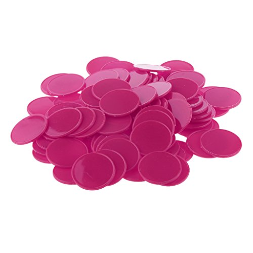 dovewillプラスチックCasino Poker Chips KidsファミリボードゲームマーカートークンPlayおもちゃギフトパック100のFuschia