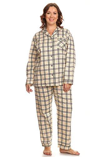 Set Check Pj (PB COUTURE Womens Plus Size Poplin Pajamas Long Cotton Pj Set Yellow Check)