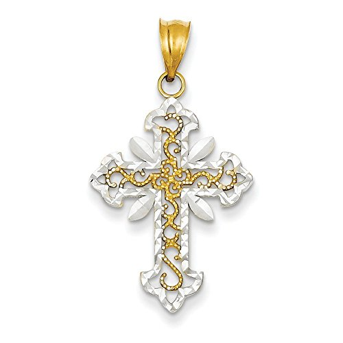 14 carats et Rhodium Taille JewelryWeb-Pendentif Croix Diamant