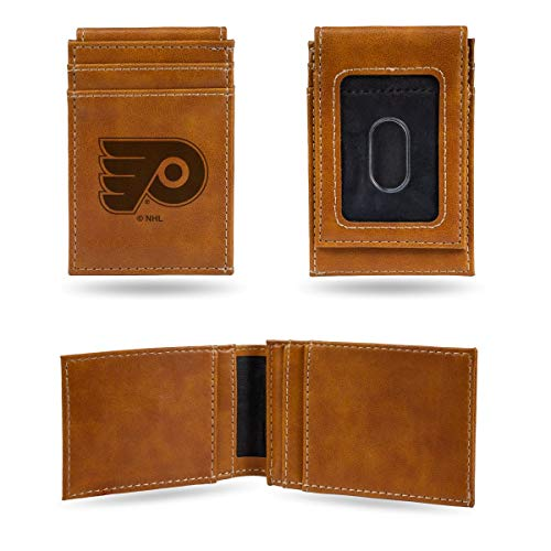 Rico Industries NHL Philadelphia Flyers Laser Engraved Front Pocket Wallet, Brown ()