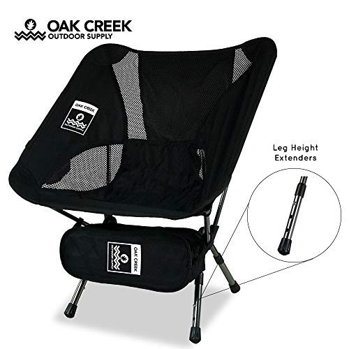 Oak Creek Lightweight Folding Camping Chair (Moon Chair) with Extendable Legs | Collapsible Aluminum Frame and Carrying Bag | Perfect for Camping and Backpacking