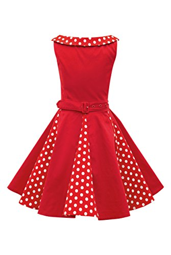 Pageant Polka Dot - BlackButterfly Kids 'Alexia' Vintage Polka Dot 50's Girls Dress (Red, 11-12 YRS)