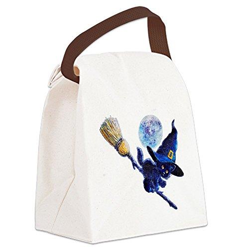 Canvas Lunch Bag Halloween Kitten Witch Broom Moon ()