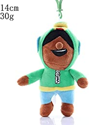 HHtoy Green Hat Killer Plush Figures Toy Brawl Stars Cartoon Hero Stuffed Soft Doll Anime Toy Pendant Pillow C