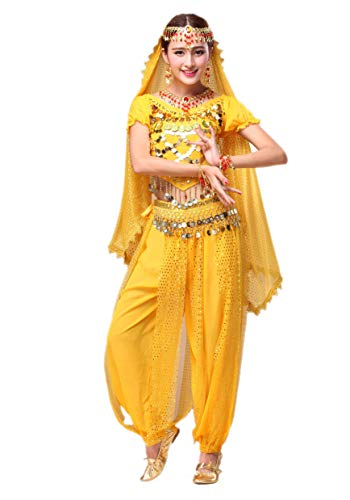 Maylong Women's Silver Shell Decoration Top Lantern Pants Belly Dance Workout (3 Pieces, Yellow) ()