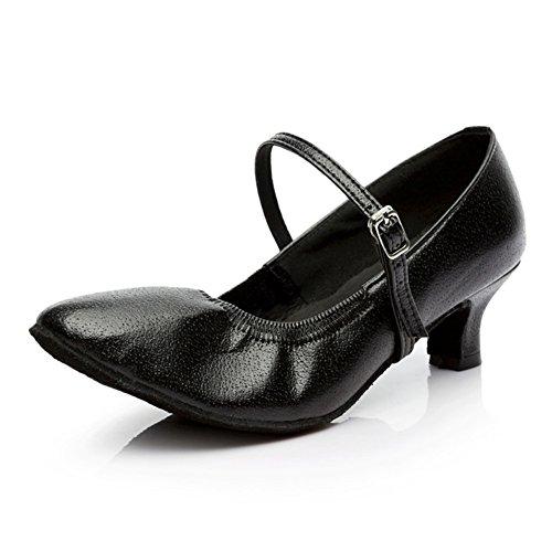 Kvinna Läder Latin Sociala Skor 4,5 Cm Klack Svart